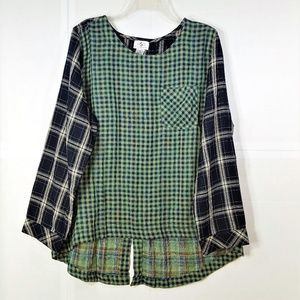 OSO Casuals Mixed Plaid Pullover Blouse